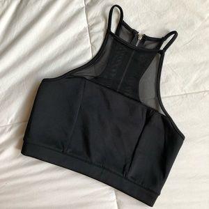 Black Mesh Crop Top